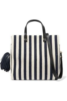 Clare V - Petit Leather-trimmed Striped Cotton-canvas Tote - Midnight blue  Tote 8752bbb166