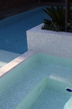Rosamaria G Frangini   Architecture Pools    Mixed White Cloud glimmer glass mosaic pool tile