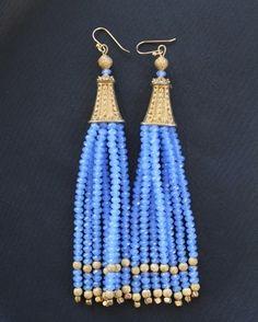 Violet Crystal Tassel Earrings