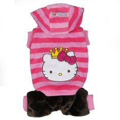 Dog Clothes Adorable New Pink Stripe Kitty Jumpsuit Size XXS XS S M L