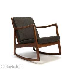 Vintage Ole Wanscher schommelstoel teak