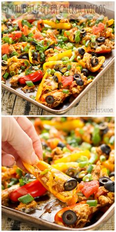 Mini bell peppers stuffed with chicken, tomatoes, olives and smothered in melted cheese. You won't even miss the nachos!