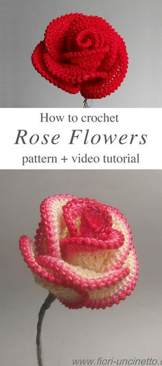 crochet roses Rose Flower Crochet Free Pattern Video Tutorial - Roses are one of my favorite flowers ever. I love making rose crochet flower, because they always look beautiful anywhere you use them.Easy Crochet Rose Flower Pattern – You will find so ma Beau Crochet, Crochet Puff Flower, Crochet Flower Tutorial, Love Crochet, Crochet Gifts, Crochet Flowers, Rose Tutorial, Diy Flowers, Pattern Flower