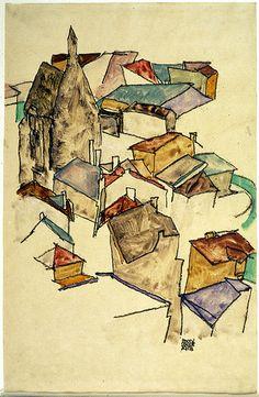 Rooftops , 1918 by Egon Schiele, (Austrian 1890-1918)