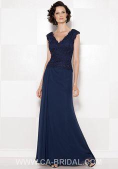 Dainty Sheath/Column V-neck Sleeveless Applique and Slit Floor-length Chiffon Mother of Bride Dress