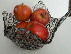 Fused Glass Marble Fruit Bowl Chocolate Swirl by uniquenique, $55.00