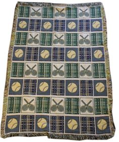 Tennis Woven Tapestry Throw Blanket Green Yellow Racket Ball Blue Plaid Sports #