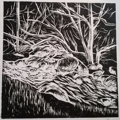 Lake District Linocut printmaking art prints for sale by Laura Young - MagnoliaLily