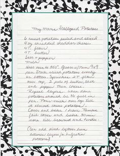 Mom's recipes Her mom's scalloped potatoes