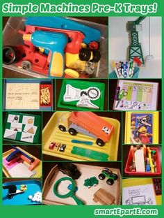 Ideas, links to printables and more for your set of preschool simple machines work trays!