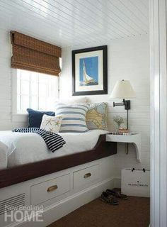 The bunk room is a favorite destination for old and young in this Edgartown home. - Interior design and architecture by Dudley Cannada, Photography by Michael Partenio Saving Grace Beach Cottage Style, Beach House Decor, Home Decor, Beach Houses, Coastal Style, Coastal Decor, Nautical Style, Nautical Home, Coastal Bedrooms