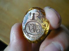 ☆ Antique Loose Citrine Hardstone Fob Seal - Tippet Family Armorial Intaglio ☆
