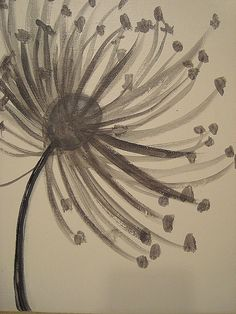 Gray and White Dandelion Painting by TidbitsofImagination on Etsy, $40.00