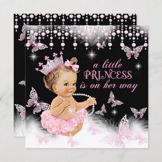 Invitación Chica de mariposas rosadas de la princesa Baby Sho