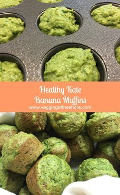 Banana Kale Muffins are full of healthy ingredients and quick to make. You will … Banana Kale Muffins are full of healthy ingredients and quick to make. You will feel good about sending these to school for snacks or with lunch! Baby Food Recipes, Vegan Recipes, Cooking Recipes, Recipes With Kale, Cooking Tips, Simple Recipes, Healthy Treats, Healthy Baking, Healthy Food