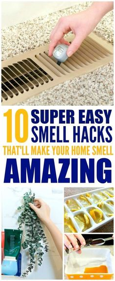 These 10 easy ways to make your home smell good and fresh are THE BEST! I'm so glad I found these GREAT tips! Now I have a great way to make my home smell great with these smell hacks! Definitely pinning!