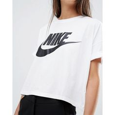 Nike Signal Cropped T-Shirt ($38) ❤ liked on Polyvore featuring tops, t-shirts, jersey tee, crop tee, white crop tee, crew neck t shirt and white jersey