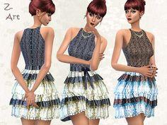 Petticoat dress by Zuckerschnute20 at TSR via Sims 4 Updates