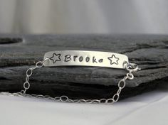 Child Bracelet  Sterling Silver Children's Nameplate by MerCurios, $38.00
