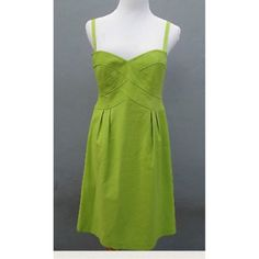 Nanette Lepore Sz 8 Lime Green 'Adore Me' Dress StunningNanette Lepore 'adore me' dress in a lime green textured stretch cotton removable straps, converting to a strapless dress with inner elasticated bra strap to hold in place. Featuring fabulous banding detail, a high waist and darting. Fully lined •Size 8 •Chest17 •Under bust15.25 •Hips 20 •Length28 from armpit •Style -sundress •Fabric -97 cotton 3 elastane •Color - lime green •Pattern -solid •Condition - Excellent used…