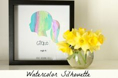 so cute... have your kid water color a paper and then cut out their silhouette using what they've made. Then have them write their name and age..