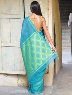 Blue Saree with Mughal Motifs