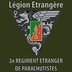 """2 REP (2nd Foreign Parachute Regiment) shirt design features the 2 REP insignia with the text """"Legion Etrangere"""" (Foreign Legion) and """"2e Regiment Etrangere de Parachutistes"""" (2nd Foreign Parachute Regiment). http://proartshirts.com/products/2-rep-performance-t-shirt-ps0180"""