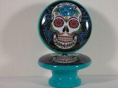 Sugar Skull Turquoise Scroll Dresser Knobs
