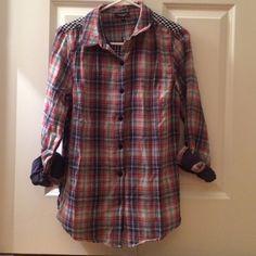 Tolani multi fabric flannel New, never worn Tolani flannel shirt. Tolani Tops Button Down Shirts
