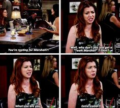 HIMYM, by the way loved Lily's dress here Marshall And Lily, Sherlock, How Met Your Mother, Glee, Barney & Friends, Tv Show Quotes, I Meet You, Pretty Little Liars, Best Shows Ever