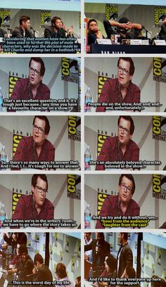 [gifset] Jeremy Carver on the Charlie question. #SDCC15