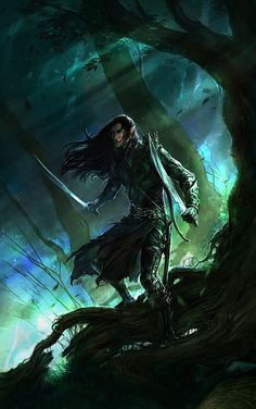 But others of the Eldar there were who set out upon the westward march, but became lost upon the long road, or turned aside,  or lingered. They dwelt by the sea or wandered in the woods and mountains of the world, yet their hearts were turned towards the West...Elves of the Darkness.