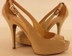 Guess Sling Back Peep Toe Stilettos Heels Size 8 Nude Tan Beige NICE Shoes