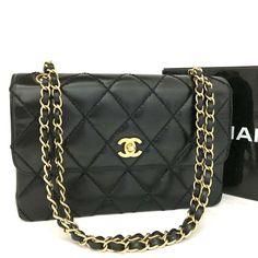 CHANEL Quilted Matelasse CC Logo Leather w Chain Shoulder Bag Black   nBFF  x Chain 76b593ae390f4