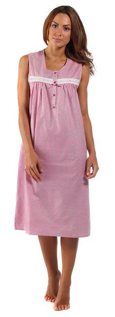 8d83864a79 Sleeveless Ladies Night Dress Womens Woven Gingham Seersucker Sleepwear  Nightie