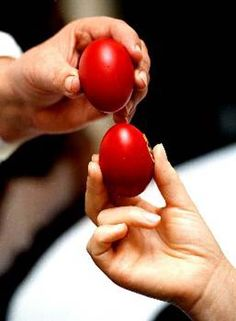 Easter eggs are a traditional part of Greek Orthodox Easter. They are usually painted on Holy Thursday in commemoration of the Last Supper. The red-dyed eggs are cracked against each other and the person with the last remaining uncracked egg will have good luck.