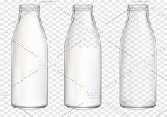 Realistic Milk Bottles Mockup Vector. Product Mockups