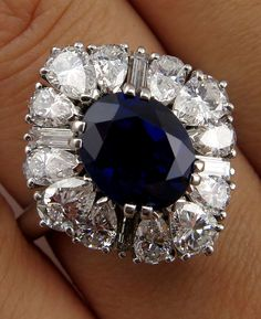 Magnificent 1950s CARTIER 7.15ct Natural UNHEATED Blue Sapphire Diamond Ballerina Halo Platinum Ring