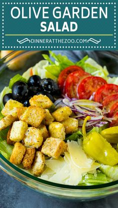 A copycat recipe of the famous Olive Garden salad with Italian dressing. recipes for dinner olive gardens Olive Garden Salad Olive Garden Pasta, Olive Garden Recipes, Olive Garden Dressing, Salad Dressing Recipes, Salad Recipes, Copykat Recipes, Dinner Salads, Dinner Healthy, Healthy Salads