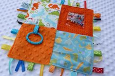 Sensory blankets for babies. you can even add different textured material, add crinkle paper in the inside so it makes a sound.This stimulates their senses