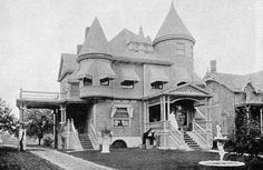 """1898: Mt. Clemens; Matthew Slush home at 150 Cass Avenue. Slush built this home in 1892, before building his mansion, known as """"Whitehall,"""" on South Gratiot Avenue. In later years the residence was occupied by the Berry and Czizek families. It was torn down to accommodate the construction of Mount Clemens Public Library on the site in 1968."""