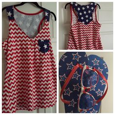 Aunt Lynne made this tank top for Fourth of July!