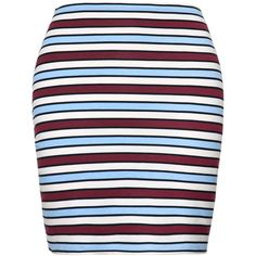 Kimmy High Waisted Bodycon Skirt in School Stripe by Motel ($14) ❤ liked on Polyvore featuring skirts, high-waisted skirts, striped bodycon skirt, polka dot skirt, dot skirt and bodycon skirt