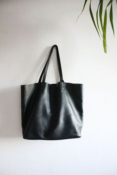 LILA  Large Everyday Black Leather Tote Bag by MISHKAbags on Etsy, $175.00 - Sale! Up to 75% OFF! Shop at Stylizio for women's and men's designer handbags, luxury sunglasses, watches, jewelry, purses, wallets, clothes, underwear & more!