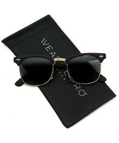 3d4c229d8 Men's Sunglasses, Semi-rimless,Retro Classic Metal Half Frame Horn Rimmed  Sunglasses -