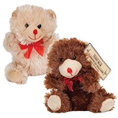 "Valentines Day 7"" Plush Chocolate Scented Bears (Set of Two)"