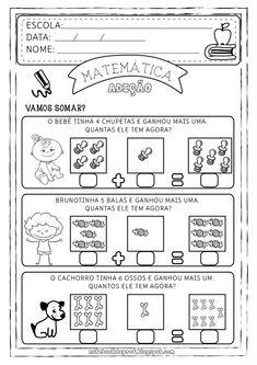 Atividades matematica probleminhas 1º ano Alphabet Worksheets, Preschool Worksheets, Lessons For Kids, Math Lessons, File Folder Activities, Math Addition, Student Motivation, Sistema Solar, Fun Math
