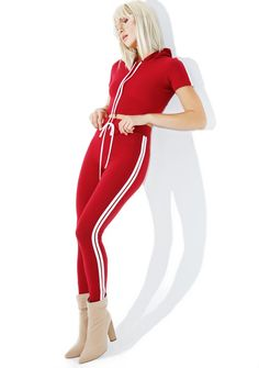 Fire Cash Out Sporty Set is about ta set you up for f*xkin' life, bb! This dope set features a pair of ultra cute high waisted leggings in a stretchy burgundy color with varsity stripes down tha sides and an awesome cropped short sleeve hoodie with stripes on the sleeves for a match made in heaven~