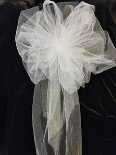 Wedding Pew Bows, White Or Any Color You Choose, Tule Bows With Streamers, Wedding Decorations, Church Pew Bows, Party Bow, Package Bow by AsPrettyDoes on Etsy https://www.etsy.com/listing/184420554/wedding-pew-bows-white-or-any-color-you