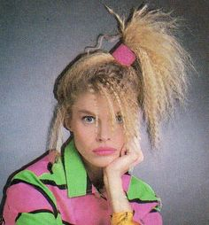 80's crimped hair , side high ponytil , scrunchie and various neon coloured shrit